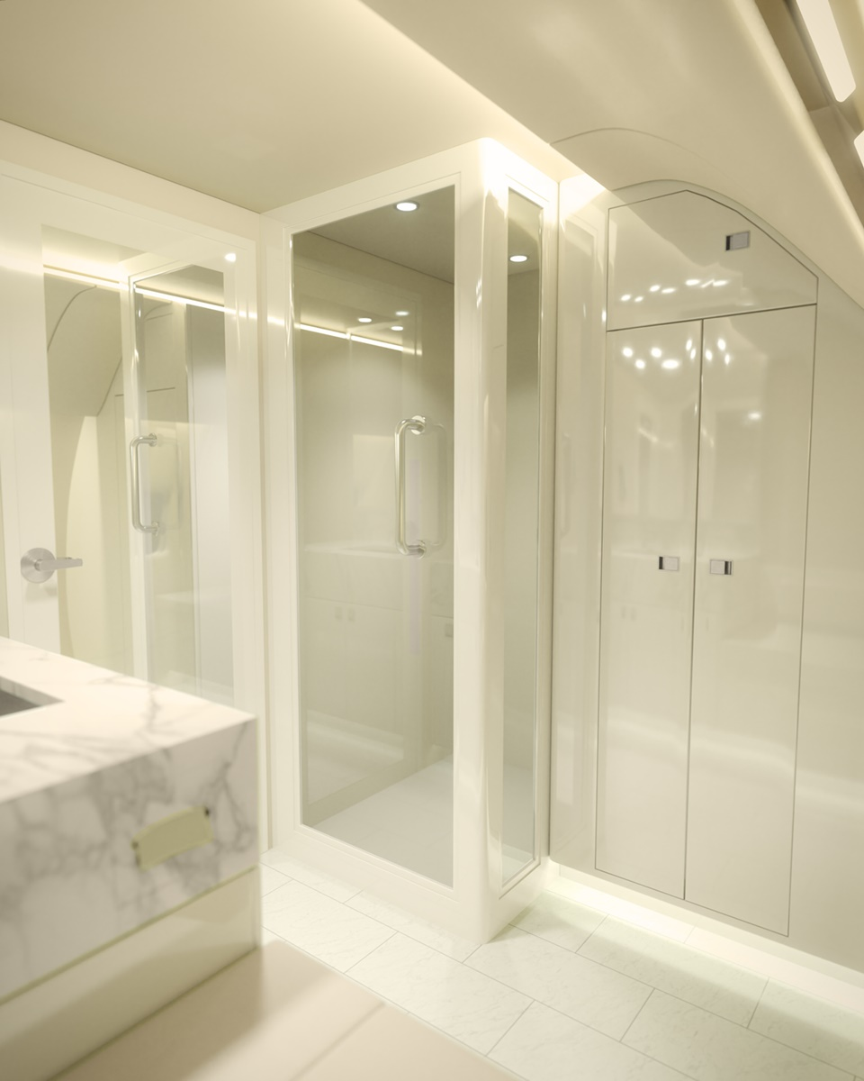 Luxurious and Robust Private Jet Showers
